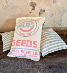 Grain Sack Pillow Trio by savvycityfarmer on Etsy, $32.00