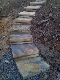 new Ideas backyard landscaping stone stairs Landscape Steps, Landscape Design, Landscape Architecture, Garden Design, Landscaping On A Hill, Landscaping Ideas, Sloped Yard, Garden Stairs, Patio Stairs