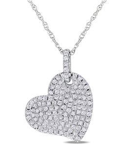 0.5 ct Diamond Heart Pendant in 10k White Gold
