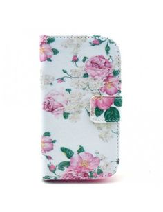 Δερμάτινη Θήκη Πορτοφόλι με Βάση Στήριξης για Samsung Galaxy S Duos 2 S7582 / Ace II X S7560M - Τριαντάφυλλα Φούξια σε Εκρού Φόντο