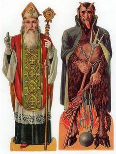 Victorian Saint Nikolaus and Krampus Scraps