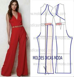 MOLDE DE MACACÃO VERMELHO, You can collect images you discovered organize them, add your own ideas to your collections and share with other people. Fashion Sewing, Diy Fashion, Ideias Fashion, Fashion Women, Jumpsuit Pattern, Pants Pattern, Dress Sewing Patterns, Clothing Patterns, Wedding Dress Patterns