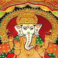 Cristal Art Blog: Embroidered Painting of Ganesha on Glass