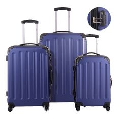 BHC 3PCS Luggage Navy Carry On Set Trolley Suitcase Travel Spinner ABS PC w/Cover Description:Are You Ready To Travel? This Awesome, Hardsided 3-Piece... #spinner #cover #travel #suitcase #carry #trolley #luggage
