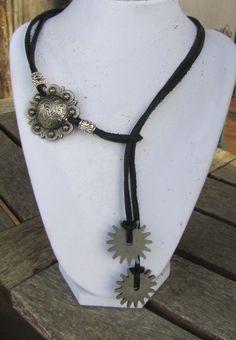 Silver Concho & Rowel Adjustable Suede Cord necklace $29.95 Diamond B Jewelry - Suede Cord Necklaces