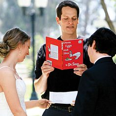 several couples' vows. Some funny, some sweet... all are fun to read!