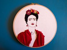 """Frida Kahlo Embroidery Portrait - Frida Kahlo Hoop Art Wall Hanging- Contemporary Embroidery -Thread drawing on canvas - Fiber arts - 9""""hoop"""