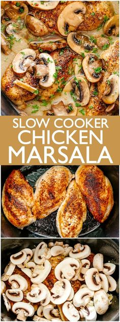 Slow Cooker Chicken Marsala - Creamy, delicious, mushroom studded Chicken Marsala prepared in the slow cooker! This surprisingly easy recipe results in a restaurant quality dish made right in your own kitchen. Recipes for 1 Slow Cooker Chicken Marsala Crock Pot Recipes, Recetas Crock Pot, Crockpot Dishes, Healthy Crockpot Recipes, Tasty Slow Cooker Recipes, Slow Cooker Meals Healthy, Beef Recipes, Alow Cooker Recipes, Slow Cook Chicken Recipes