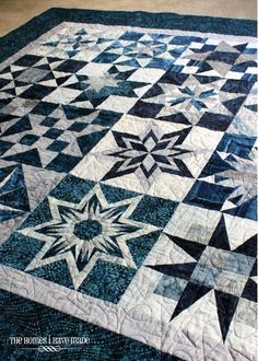 Star quilt by callie Colchas Quilting, Quilting Projects, Quilting Designs, Crochet Projects, Two Color Quilts, Blue Quilts, White Quilts, Batik Quilts, Star Quilt Blocks