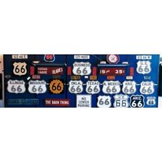 Route 66 Sign Collection Canvas Art - Panoramic Images (36 x 12)