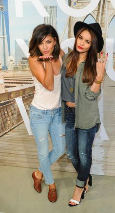 7/30/13: Vanessa Hudgens and Jessica Szohr at the 'Rock Your Walk' Event at American Eagle in NYC. Jessica's look is perfection.