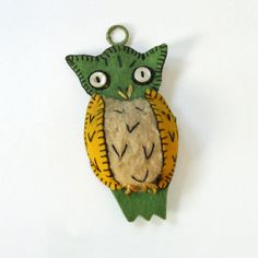 Vintage Handmade Owl Pin Cushion Felted Owl by RattyAndCatty, $12.00