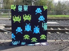 Space invaders quilt top from Elizabeth Hartman at Oh Fransson