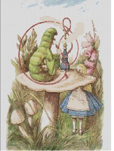 This is a counted cross stitch pattern of Lewis Carrolls Alice in Wonderland with the Caterpillar. This pattern will produce a unique and detailed
