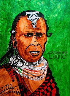 Guerreiro de tribo africana em tinta acrílica e nanquim feito pelo ilustrador Dario Taboka.
