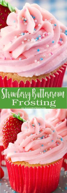 Fresh Strawberry Buttercream Frosting is the perfect way to bring the summer flavor of strawberries to your birthday or holiday celebrations. Yummy Dessert! via @KleinworthCo