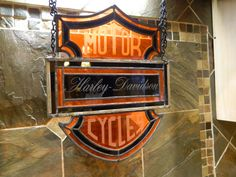 harley davidson stained glass sign by spinksglass on Etsy, $110.00