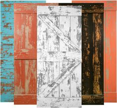 Hayloft barn doors come in a variety of styles and colors including (L to R) Blue Chalk, Tomato Peel, White, Black and New Orange.