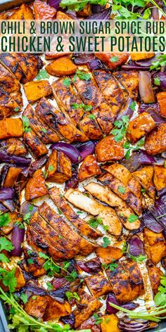 Chili and Brown Sugar Spice Rub Chicken and Sweet Potatoes - Averie Cooks