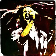 Bob Marley black and white photo colored, retouched and turned into a poster by Adarve Photocollage