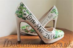 Hand painted wedding shoes, Irish wedding, shamrocks, Ireland