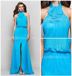 uma linha princesa alta pescoço até o chão chiffon vestido de noite - USD $ 199.99