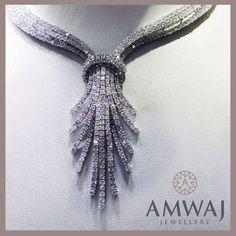 A truly mesmerizing diamond necklace set in white gold from Amwaj Jewellery Abu Dhabi.