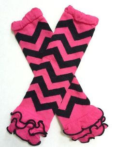 Hot Pink and Black Ruffle Leg Warmers - Baby Toddler Little Girl's