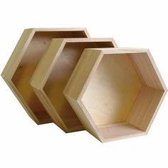 Ensemble de 3 étagères hexagone en bois - Achat / Vente tiroir coulissant 3 étagères hexagone en bois - Cdiscount