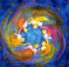 Cornelia Lauwaert copyright © 2013 - All rights reserved Nuno Felting, Needle Felting, Waldorf Crafts, Felt Pictures, Textile Fiber Art, Wool Art, Felt Art, Fabric Art, Felt Crafts