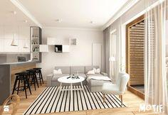 Tamka 29- I propozycja - Mały salon z barkiem z kuchnią z jadalnią z tarasem / balkonem, styl skandynawski - zdjęcie od MOTIF