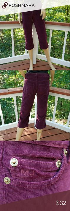 MARC JACOBS Comfy Wine Corduroy Capris These fantastic capris are so sublime!   As you're styling for constantly inconsistent weather, believe me, these will be your go-to staple for all-yr-round!   SO CUTE!!!   * Soft,  98% cotton & 2% Lycra * Beautiful, burgundy wine color * Two pockets in front & back * Infamous, MJ emblems engraved on all hrdwre & @ rear pockets * Uncuffed * Fit to wear at waist or hang @ hips  EXCELLENT CONDITION!  (Min wear)  *SAVE WITH BUNDLE DEALS* I  💜💜💜…
