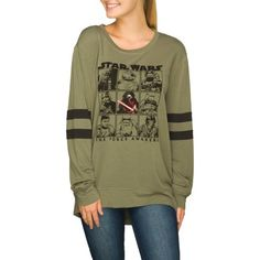 Disney Juniors Star Wars French Terry Hi-Low Varsity Tunic Pullover, Size: Small, Green