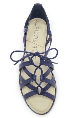 Gladiator-inspired leather lace-up sandal in dark blue//