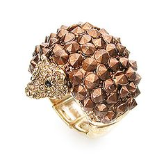 Ring Stretch Metal Hedgehog Gold Brown