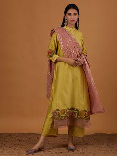 Yellow Embroidered Chanderi Silk Suit with Peach Gota Cotton Mulmul Dupatta - Set of 3 Pakistani Dress Design, Pakistani Dresses, Indian Dresses, Indian Outfits, Embroidery Suits Punjabi, Embroidery Suits Design, Designer Punjabi Suits, Indian Designer Outfits, Designer Suits Online
