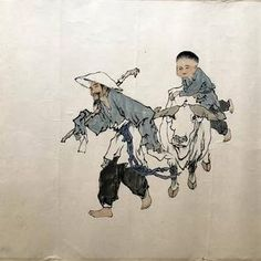 Chinese painting: old man child and ox hand painted original   Etsy Long White Hair, Environmentally Friendly Packaging, Chinese Brush, Chinese Man, Man Child, Make A Person, Chinese Zodiac, Chinese Painting, Old Men