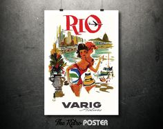 1965 Rio de Janeiro - Varig Airlines, Brazil - Vintage Travel Tourism Poster // High Quality Fine Art Reproduction Giclée Print by TheRetroPoster on Etsy