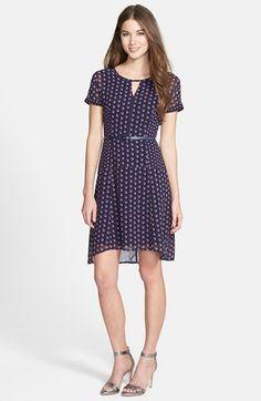Halogen® Print Elliptical Hem Belted Dress (Regular & Petite) available at #Nordstrom