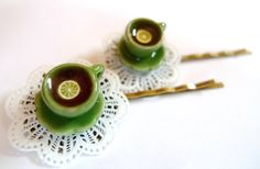 Afternoon Tea Hair Pins Clips Lemon Doily Cup