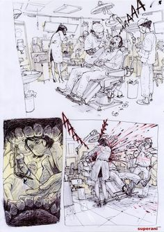 Kim Jung Gi  Terrifying Dentist ✤    CHARACTER DESIGN REFERENCES   キャラクターデザイン • Find more at https://www.facebook.com/CharacterDesignReferences if you're looking for: #lineart #art #character #design #illustration #expressions #best #animation #drawing #archive #library #reference #anatomy #traditional #sketch #development #artist #pose #settei #gestures #how #to #tutorial #comics #conceptart #modelsheet #cartoon #Kim #Jung #Gi #super #ani    ✤