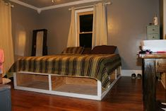 Our bed is ALMOST complete! We used another ana-white plan , the king storage bed . Guys this required a TON of cutting. We called in a...