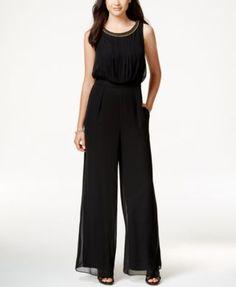 Jessica Simpson Chain-Link Wide-Leg Blouson Jumpsuit