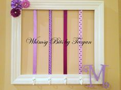 Whimsy Bits by Teegan:  Purple Tones Clip Holder Frame.  Bow Holder.  Headband Holder.  Initial and Embellishments custom.  $48.00