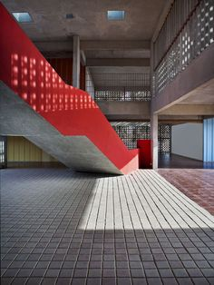 Gallery of DPS Kindergarden School / Khosla Associates \ Stair \ Red Straight Stair \ Concrete Stair / Double Height / interior space / School interior space / Indian Architecture, Space Architecture, School Architecture, Residential Architecture, Contemporary Architecture, Amazing Architecture, Architecture Details, Interior Stairs, School Design