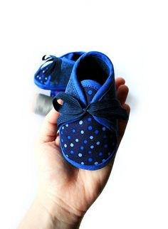 20% OFF SALE Navy Blue Dotted Jeans Baby Booties Shoes Spring Infant Newborn Warm on Etsy, $28.05