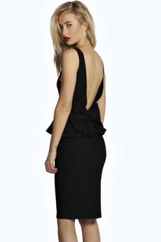 a7e90f9389a Tina Bow Back Detail Peplum Midi Dress at boohoo.com BUT IN RED High Street
