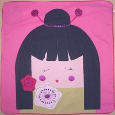 Geisha Girls Pink Square Cushion Cover 45x45cm