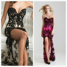Black Hot Pink Lace Evening Gown Prom Ball Cocktail Party Wedding Bridal Dress | eBay