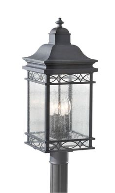 One Light Post, Traditional, Clear Glass, Black